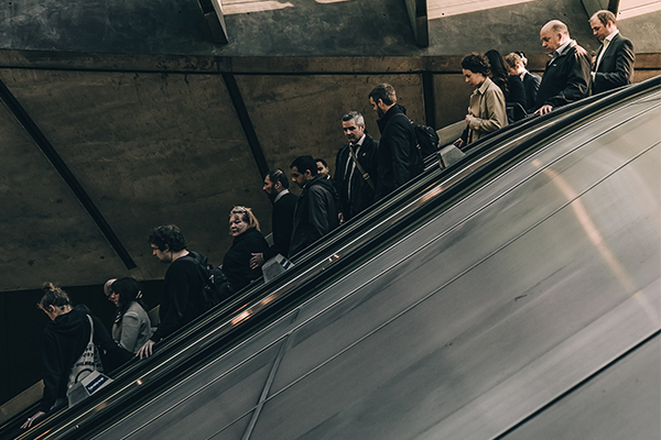 people on escalator