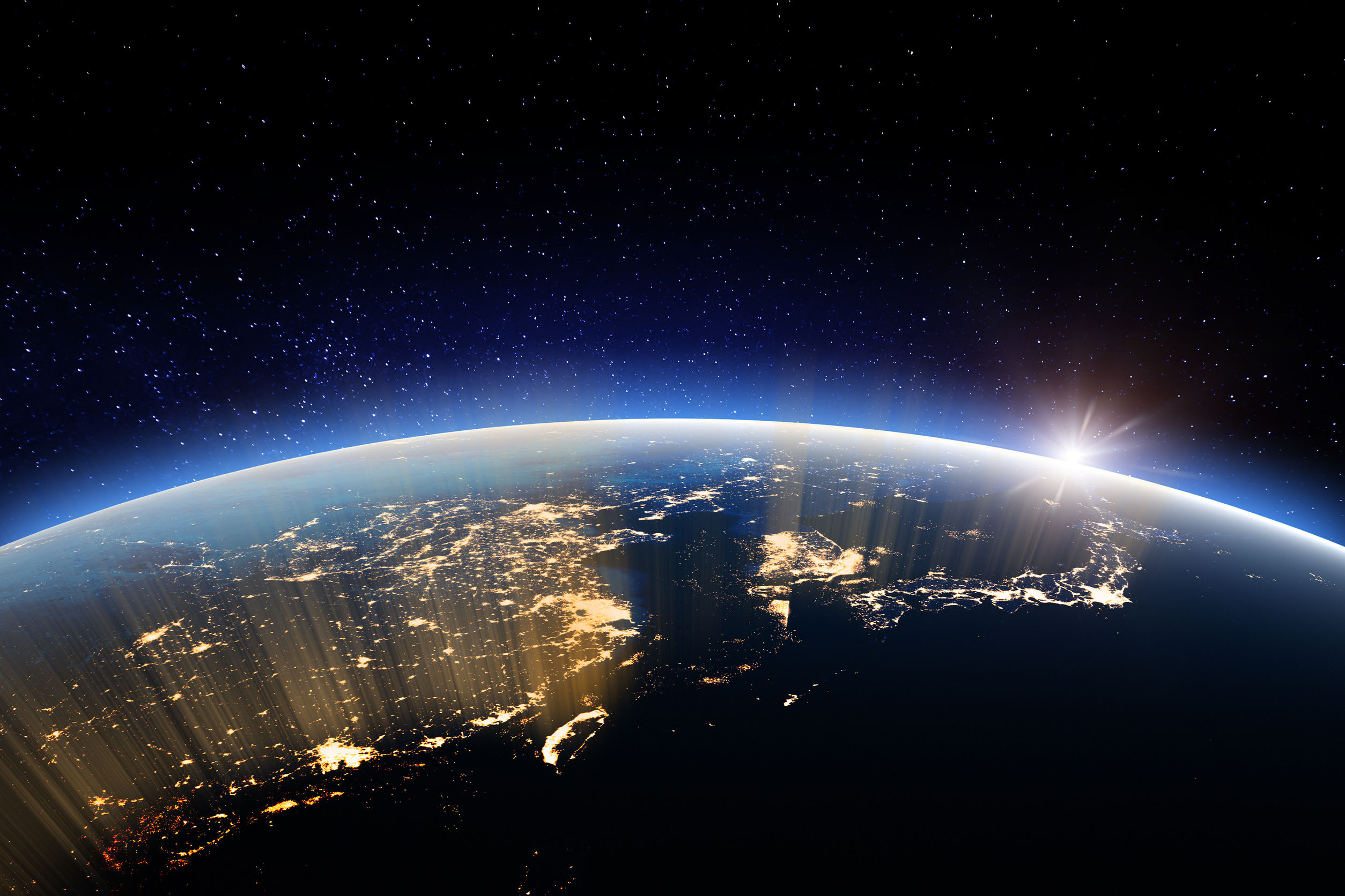 Planet at night. Elements of this image furnished by NASA
